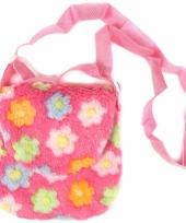 Roze pluche kindertas met bloemen