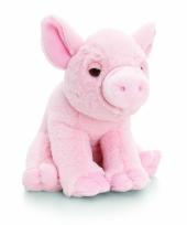 Roze pluche varken knuffeldier met geluid 16cm