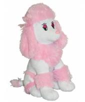 Roze poedel hondje knuffel 35 cm