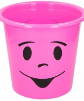 Roze prullenbak met smiley