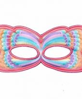 Roze regenboog oogmasker van een vlinder
