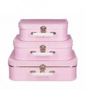 Roze speelgoed koffer met witte stippen 25 cm