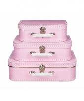 Roze speelgoedkoffer met witte stippen 30 cm