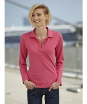 Roze stretch poloshirts voor dames