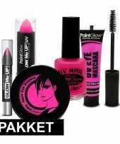 Roze uv schmink pakket