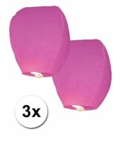 Roze wens lantaarn ballonnen 3 stuks