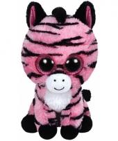 Roze zebra knuffel zoey 24 cm