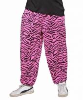 Roze zebraprint broek voor heren