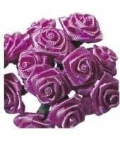 Rozen van satijn roze 12 cm