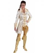 Satijnen dames colbert wit met gouden details
