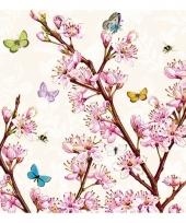 Servetten bloemen print 3 laags 20x
