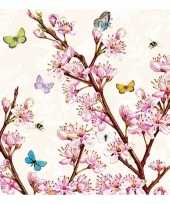 Servetten bloemen print 3 laags 40x
