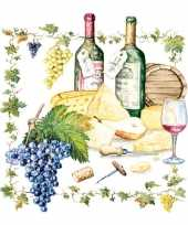 Servetten met wijn en kaas print 33x33 cm