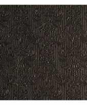 Servetten zwarte barok 3 laags 15 stuks