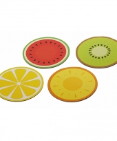Set van 4 ronde placemats fruit 30 cm