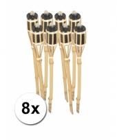 Set van 8 tuinfakkels van bamboe 61 cm