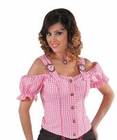 Sexy cowboy blouse voor dames roze