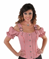 Sexy cowgirl blouse rood off shoulder