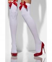 Sexy kniekousen wit met rode strik