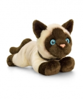 Siamese poes kat knuffel liggend 30cm
