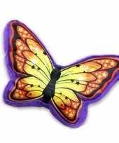 Sierkussen in vlindervorm paars oranje 50 cm
