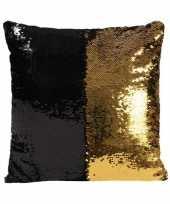 Sierkussen pailletjes zwart met goud 40 cm