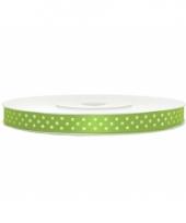 Sierlint satijn groen met witte stip 6 mm