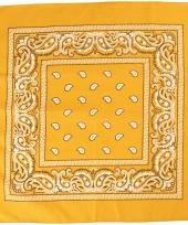 Sjaal geel met print