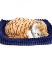 Slapende realistische knuffel kat rood