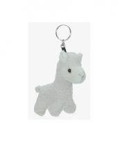 Sleutelhanger alpaca wit 12 cm