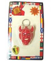 Sleutelhanger met rood duivel hoofd