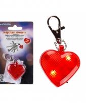 Sleutelhanger rood hartje met verlichting 4 cm