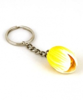 Sleutelhanger tulp 4 cm geel