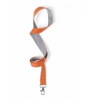 Sleutelkoord oranje met grijs 50x2 cm