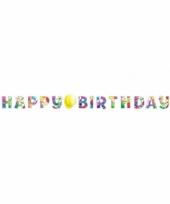 Slinger happy birthday met feestelijke ballonnen opdruk karton