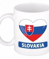 Slowaakse vlag hart mok beker 300 ml