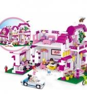 Sluban roze villa blokjes bouwset