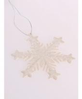 Sneeuwvlok hangdecoratie glitter gebroken wit