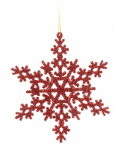 Sneeuwvlok rood met glitters 14 5 cm 10074100