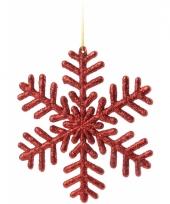 Sneeuwvlok rood met glitters 14 5 cm