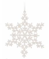 Sneeuwvlok wit met glitters 14 5 cm 10074101
