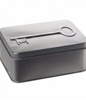 Snoepdoos met sleutel print zilver 14 5cm