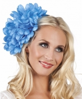 Spaanse bloem haarklem blauw 20 cm