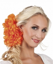 Spaanse bloem haarklem oranje 20 cm