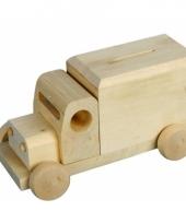 Spaarpot houten vrachtwagen