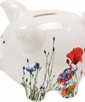 Spaarvarken spaarpot bloementjes met kadodoosje 13 cm