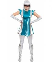 Space verkleed pakje blauw zilver voor dames