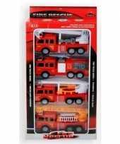 Speelgoed brandweerwagen set 4 delig
