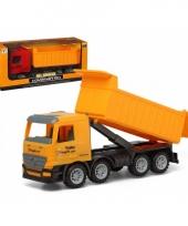 Speelgoed constructiewagen met container geel 40 x 16 cm