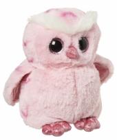 Speelgoed dieren uilen knuffel roze 18 cm